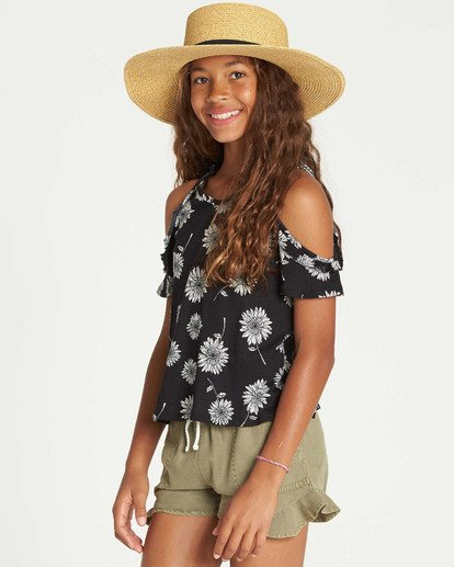 1 Girls' Finding Flowers Knit Top Black G904TBFI Billabong