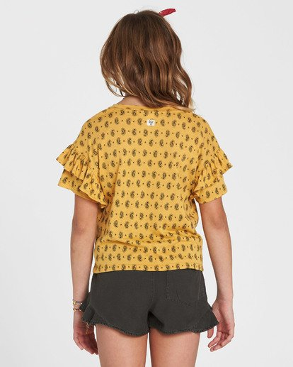 2 Girls' T-Shirt Time Printed Top Yellow G905SBTE Billabong