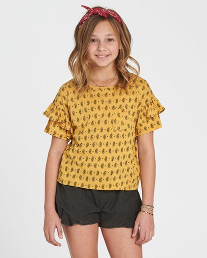 0 Girls' T-Shirt Time Printed Top Yellow G905SBTE Billabong