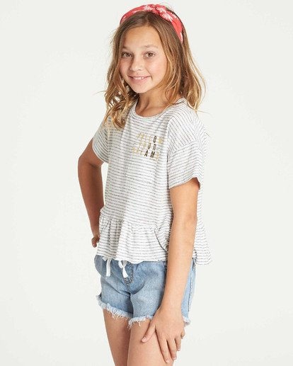 1 Girls' Sand And Sea Peplum T-Shirt Grey G908TBSA Billabong