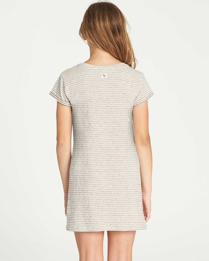 1 Girls' Mixed Lines Tee Dress White GD03TBMI Billabong