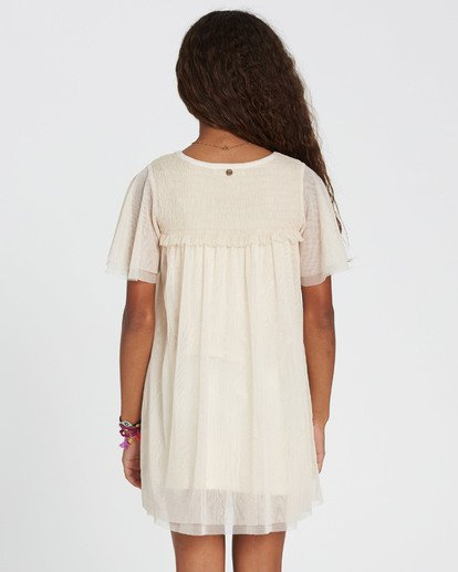 2 Girls' In The Air Tulle Mesh Dress White GD05SBIN Billabong