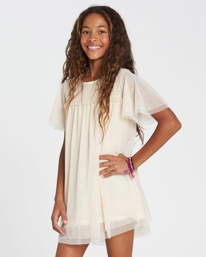 1 Girls' In The Air Tulle Mesh Dress White GD05SBIN Billabong