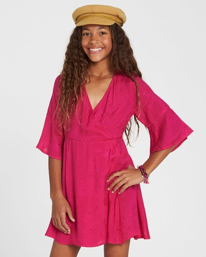 0 Girls' Divine Child Woven Dress Pink GD06SBDI Billabong