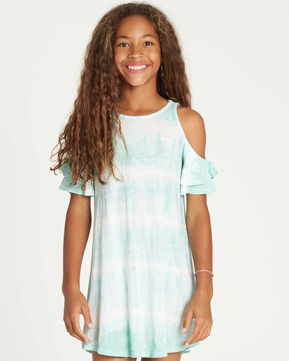 0 Girls' Chasing Waves Tie-Dye Dress White GD06TBCH Billabong