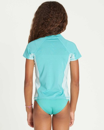 2 Girls' Surf Dayz Performance Short Sleeve Rashguard Green GR03TBSD Billabong