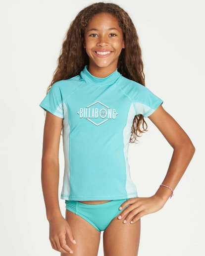 1 Girls' Surf Dayz Performance Short Sleeve Rashguard Green GR03TBSD Billabong