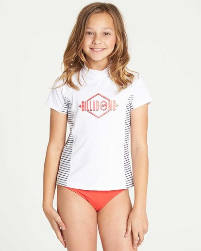 0 Girls' Surf Dayz Performance Short Sleeve Rashguard White GR03TBSD Billabong