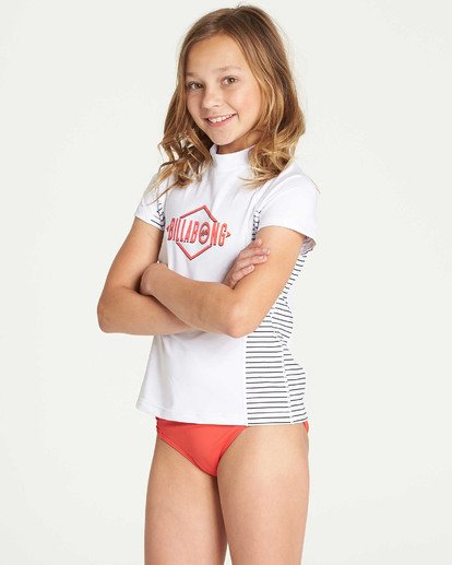 1 Girls' Surf Dayz Performance Short Sleeve Rashguard White GR03TBSD Billabong
