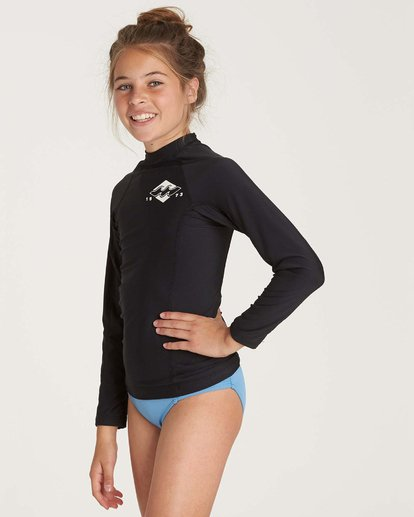 1 Girls' Surf Dayz Performance Long Sleeve Rashguard Black GR51NBSD Billabong