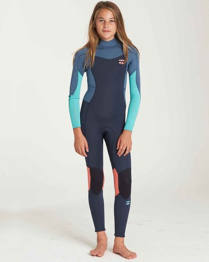0 Girls' 3/2 Furnace Synergy Back Zip Fullsuit Grey GWFUQBB3 Billabong