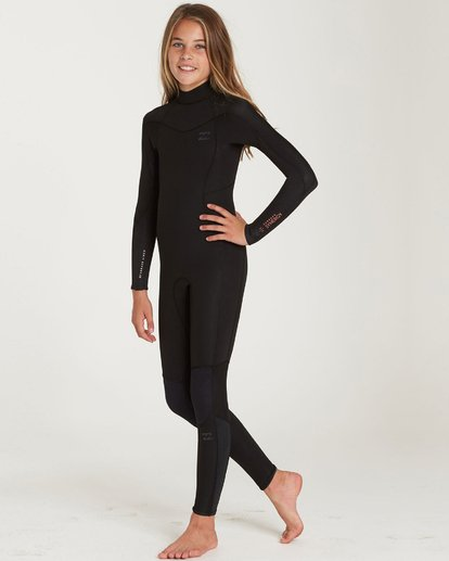 1 Girls' 4/3 Furnace Synergy Back Zip Fullsuit Black GWFUQBB4 Billabong