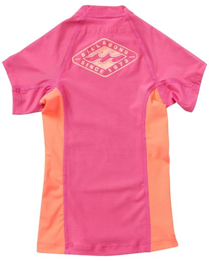 4 Girls' Surf Dayz Performance Fit Short Sleeve Rashguard Pink GWLYJSCS Billabong