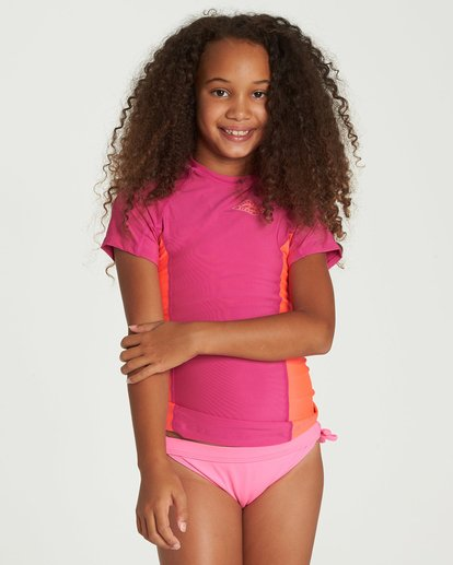 0 Girls' Surf Dayz Performance Fit Short Sleeve Rashguard Pink GWLYJSCS Billabong