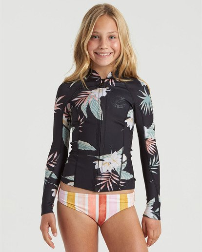 0 Girls' 1mm Peeky Wetsuit Jacket White GWSH3BSL Billabong