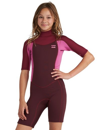 1 Girls' 2mm Synergy Back Zip Wetsuit Red GWSP1BSB Billabong