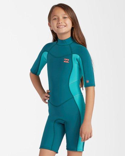 2 2mm Girls Synergy Back Zip Spring Wetsuit Green GWSP3BSB Billabong