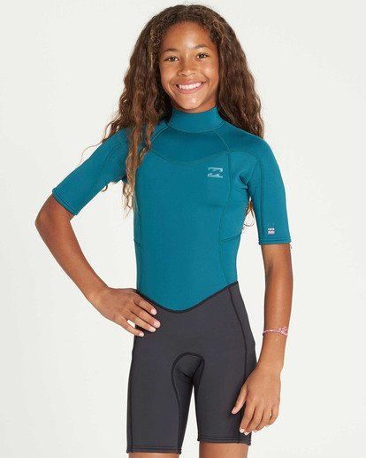 0 Girls' 2mm Synergy Back Zip Springsuit Blue GWSPTBSB Billabong