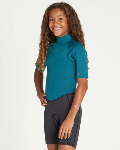 1 Girls' 2mm Synergy Back Zip Springsuit Blue GWSPTBSB Billabong