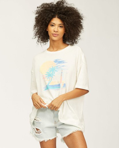 0 Stay Here Boyfriend T-Shirt White J4183SND Billabong