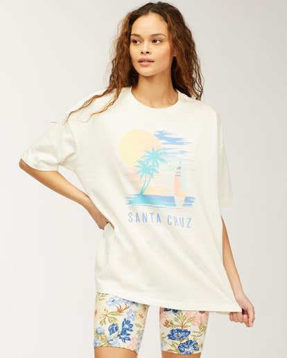0 Santa Cruz Stay Here T-Shirt White J4183SSC Billabong