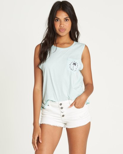 0 Palm Tree Stamp Tank Blue J442UBPA Billabong