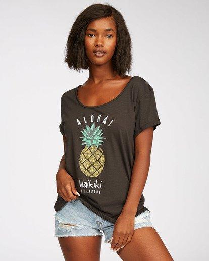 0 Waikiki Pineapple Love T-Shirt Black J448NBPR Billabong