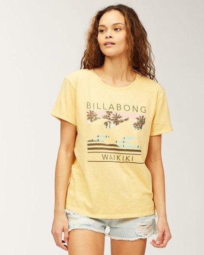 0 Waikiki Sunset Palms T-Shirt Grey J4673SWI Billabong
