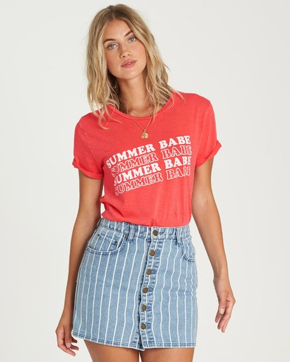 0 Babe All Day T-Shirt Red J467UBBA Billabong