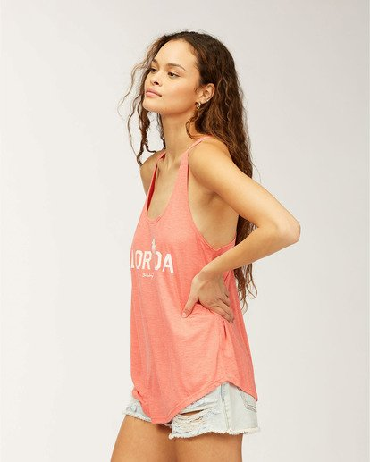 1 Florida Palm Tank Top Red J483MFFR Billabong