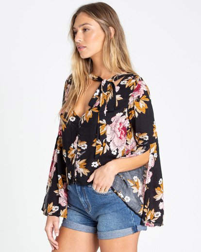 1 Lust Linger Long Sleeve Blouse Black J505TBLU Billabong