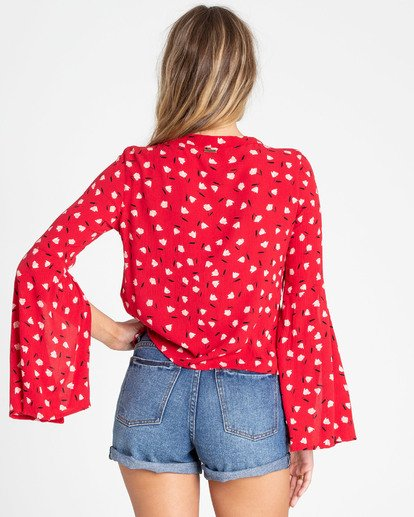 2 Lust Linger Long Sleeve Blouse Red J505TBLU Billabong