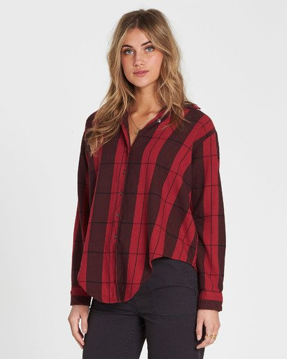 1 Cozy Down Plaid Button Down Shirt Red J508SBCO Billabong