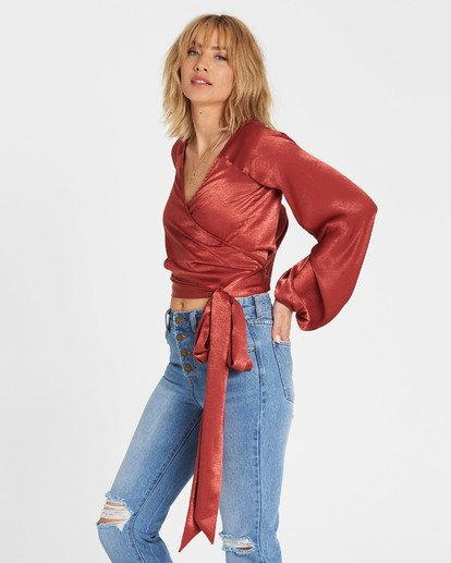 2 Shine On Silky Wrap Top Red J511SBSH Billabong