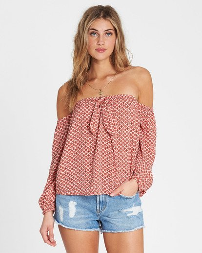 0 Forever Lover Off-The-Shoulder Top Red J517SBFO Billabong