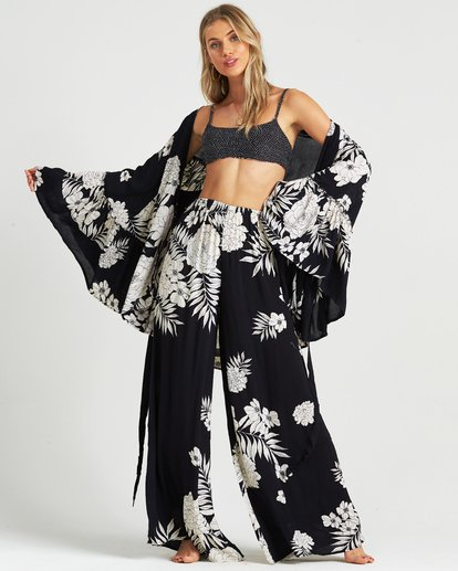 4 All Flored Kimono Top Black J520QBAL Billabong
