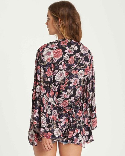 3 All Flored Kimono Top Black J520QBAL Billabong