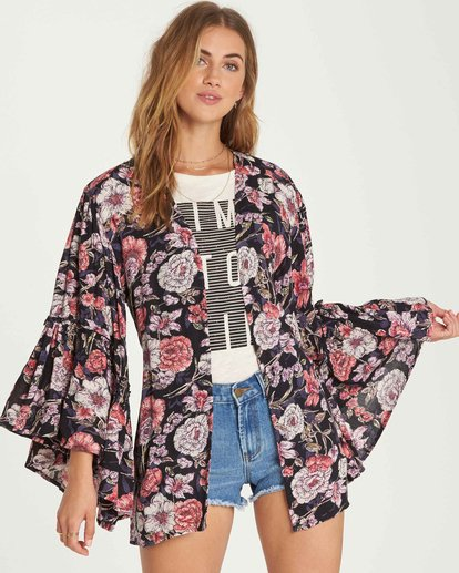 1 All Flored Kimono Top Black J520QBAL Billabong