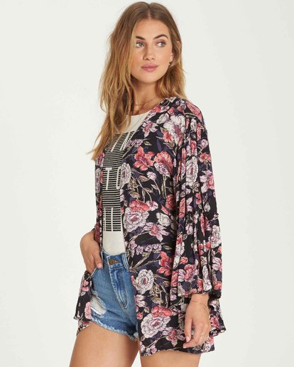 2 All Flored Kimono Top Black J520QBAL Billabong