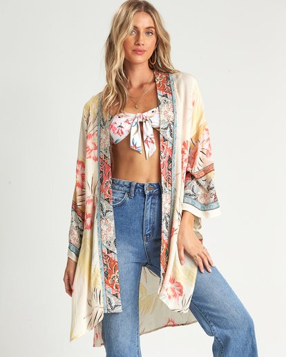 3 Fire Nights Kimono Top White J521SBFI Billabong