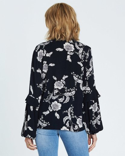 4 Birds Eye Floral Print Long Sleeve Top Black J523SBBI Billabong