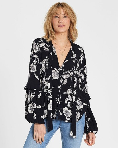 1 Birds Eye Floral Print Long Sleeve Top Black J523SBBI Billabong