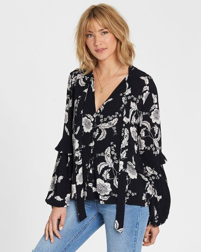 2 Birds Eye Floral Print Long Sleeve Top Black J523SBBI Billabong