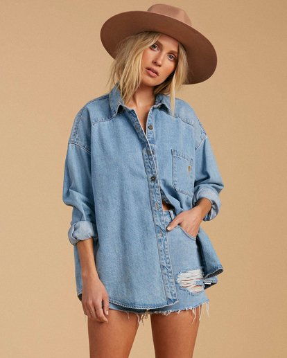 1 Salty Blonde Feeling Salty Denim Buttondown Shirt Multicolor J5273BFE Billabong