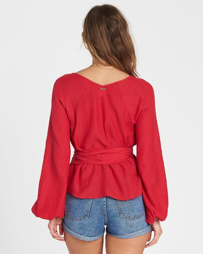 3 Shine On Long Sleeve Wrap Top Red J528SBSH Billabong