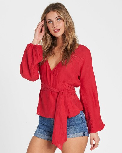 2 Shine On Long Sleeve Wrap Top Red J528SBSH Billabong