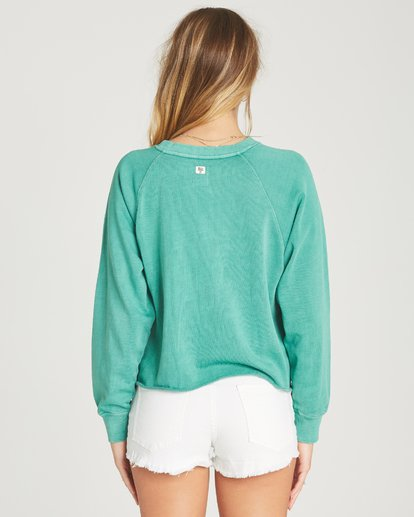 2 Shore Waves Cropped Sweatshirt Green J608TBSH Billabong