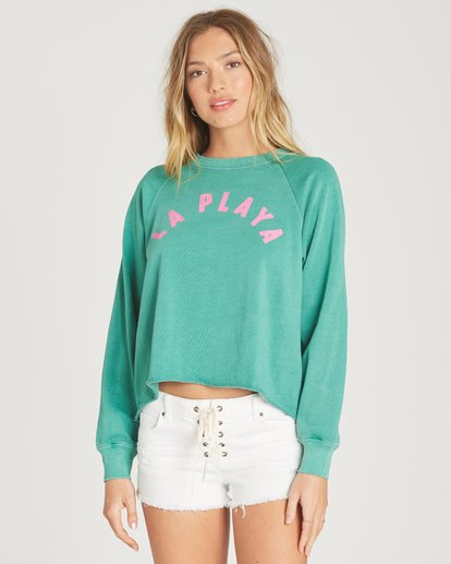 0 Shore Waves Cropped Sweatshirt Green J608TBSH Billabong