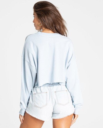 2 Coastal Tides Cropped Sweatshirt Blue J614TBCO Billabong