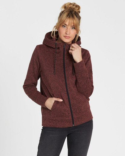 0 A/DIV Boundary Hooded Fleece Brown J623SBBO Billabong